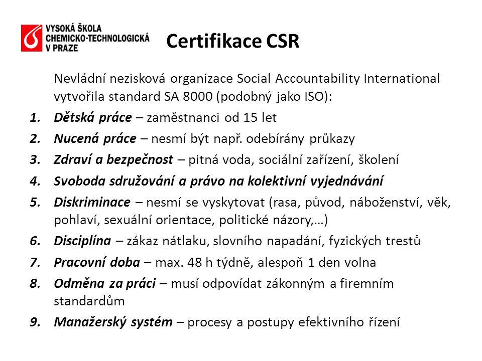 Certifikace CSR Nevládní nezisková organizace Social Accountability International vytvořila standard SA 8000 (podobný jako ISO):