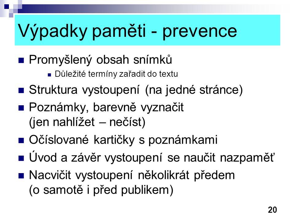 Výpadky paměti - prevence
