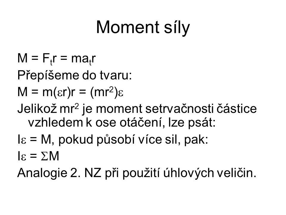 Moment síly M = Ftr = matr Přepíšeme do tvaru: M = m(er)r = (mr2)e