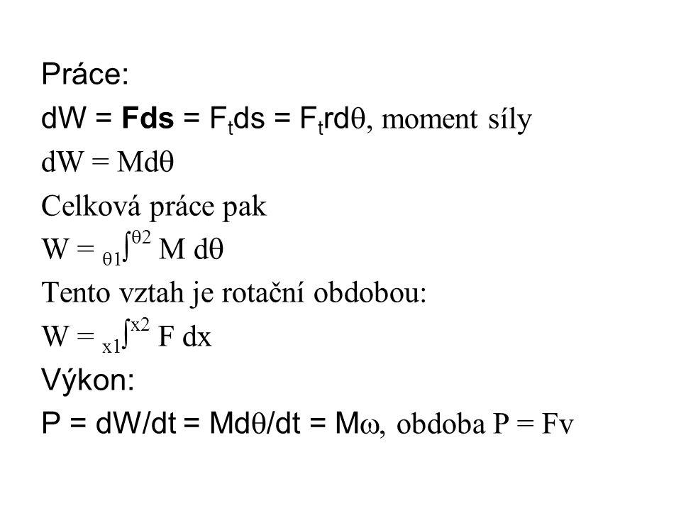 Práce: dW = Fds = Ftds = Ftrdq, moment síly. dW = Mdq. Celková práce pak. W = q1∫q2 M dq. Tento vztah je rotační obdobou:
