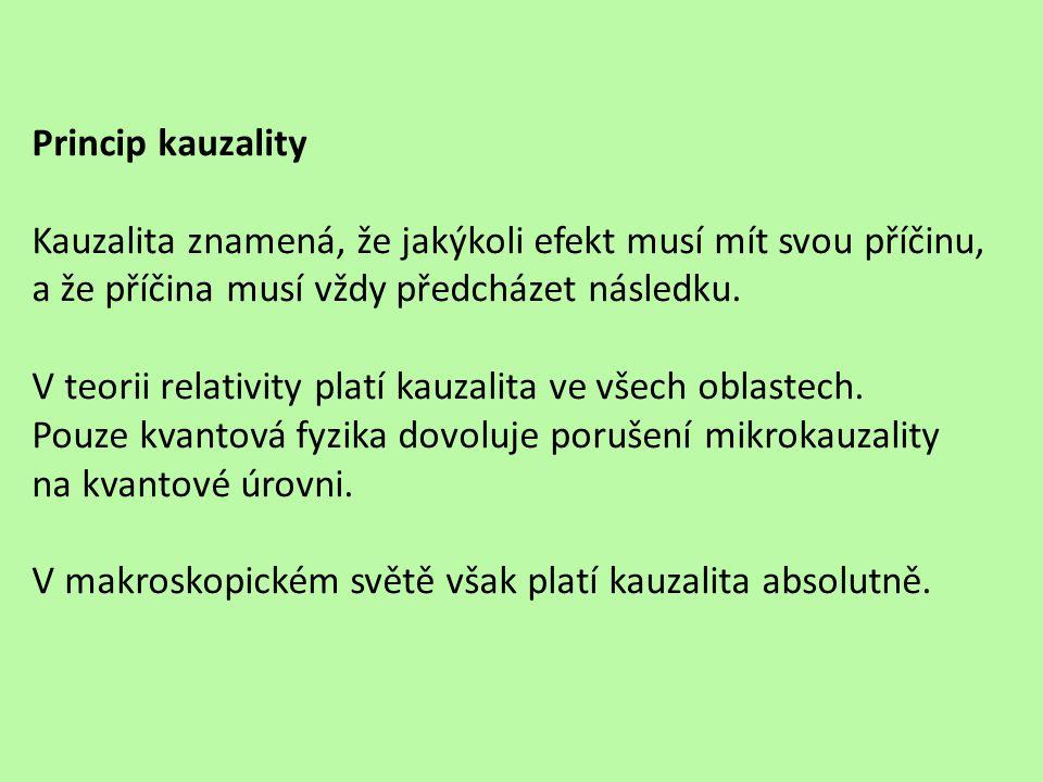 Princip kauzality Kauzalita znamená, že jakýkoli efekt musí mít svou příčinu, a že příčina musí vždy předcházet následku.