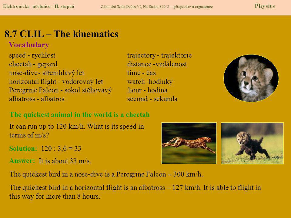 8.7 CLIL – The kinematics Vocabulary