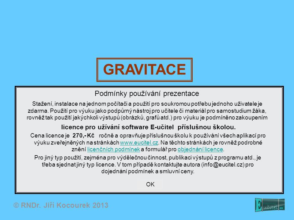 GRAVITACE Podmínky používání prezentace © RNDr. Jiří Kocourek 2013