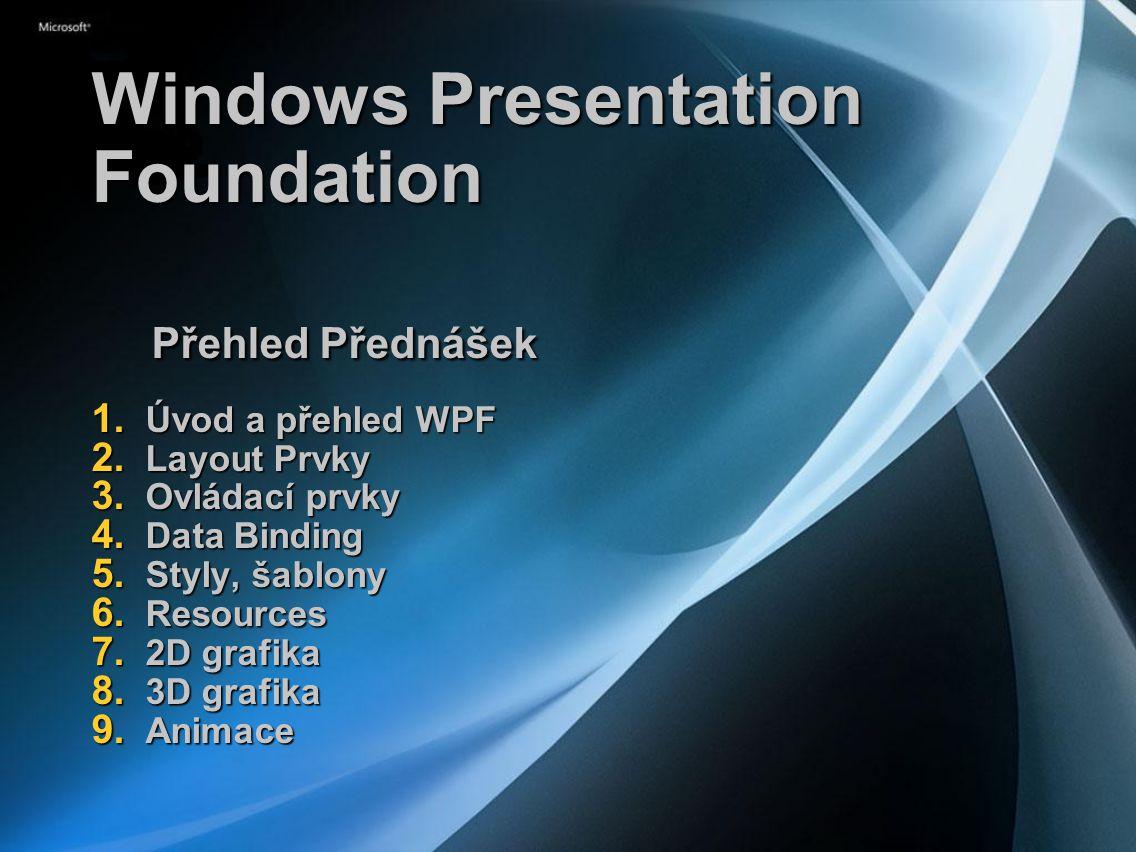 Windows Presentation Foundation Přehled Přednášek