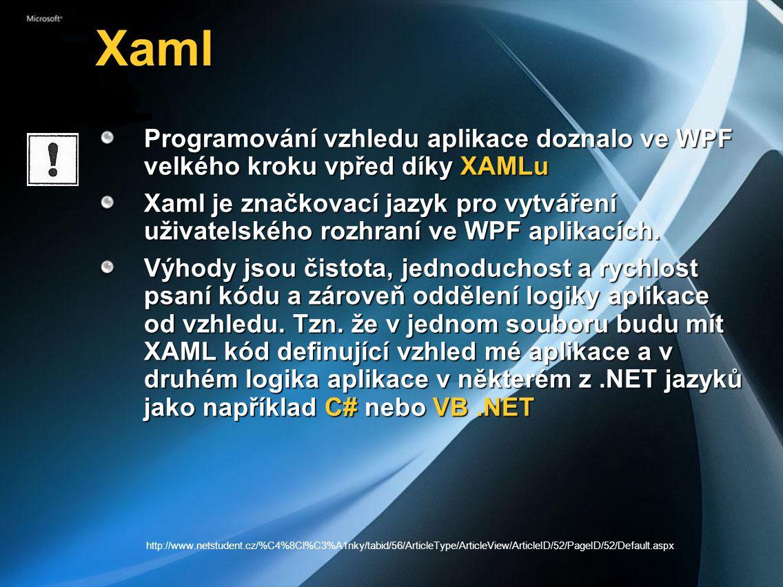 Xaml Programování vzhledu aplikace doznalo ve WPF velkého kroku vpřed díky XAMLu.