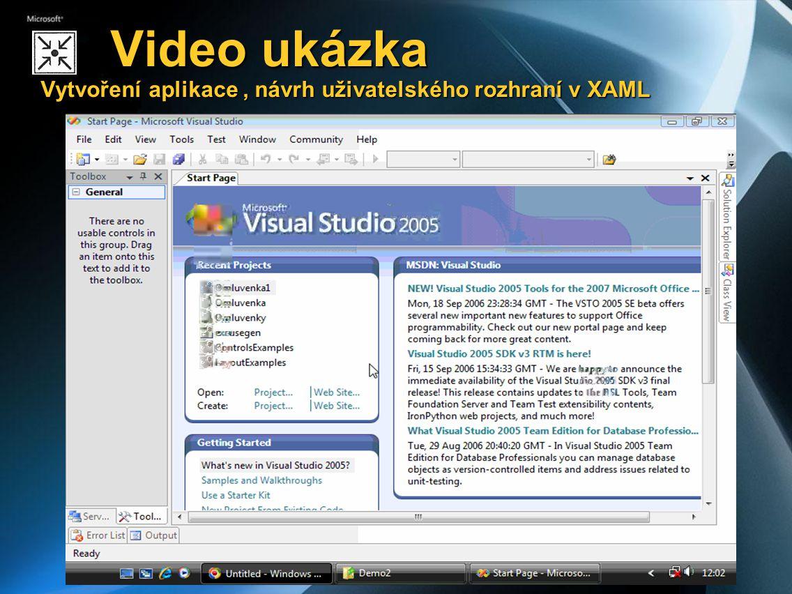 Video ukázka Vytvoření aplikace , návrh uživatelského rozhraní v XAML