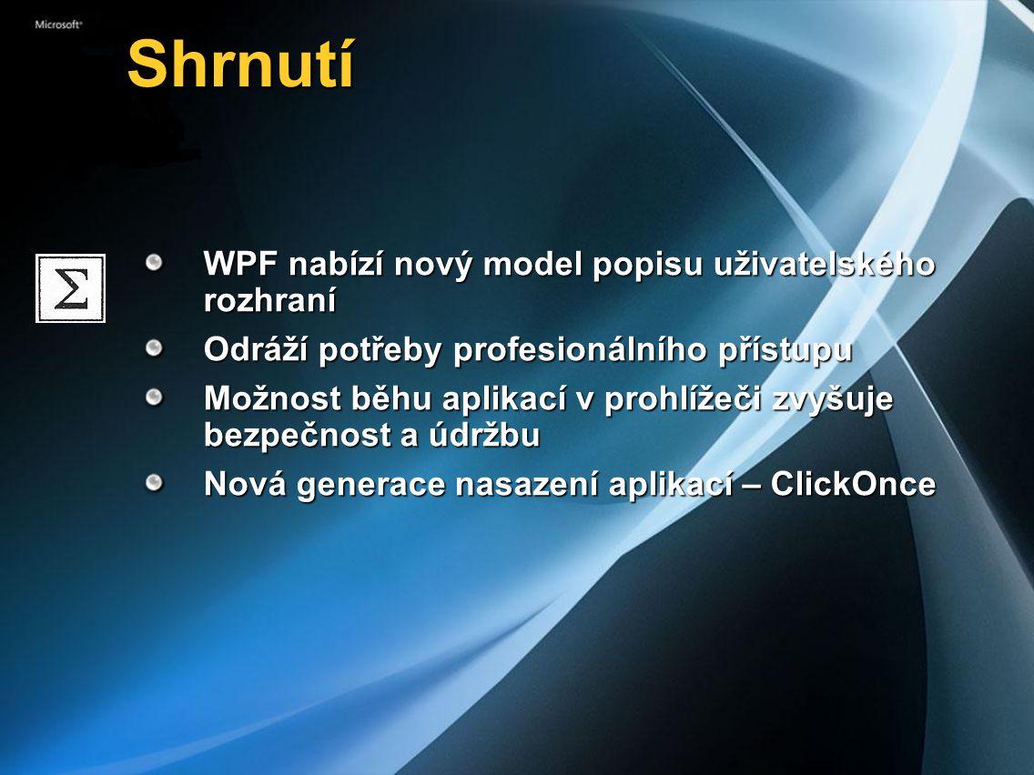 Shrnutí WPF nabízí nový model popisu uživatelského rozhraní