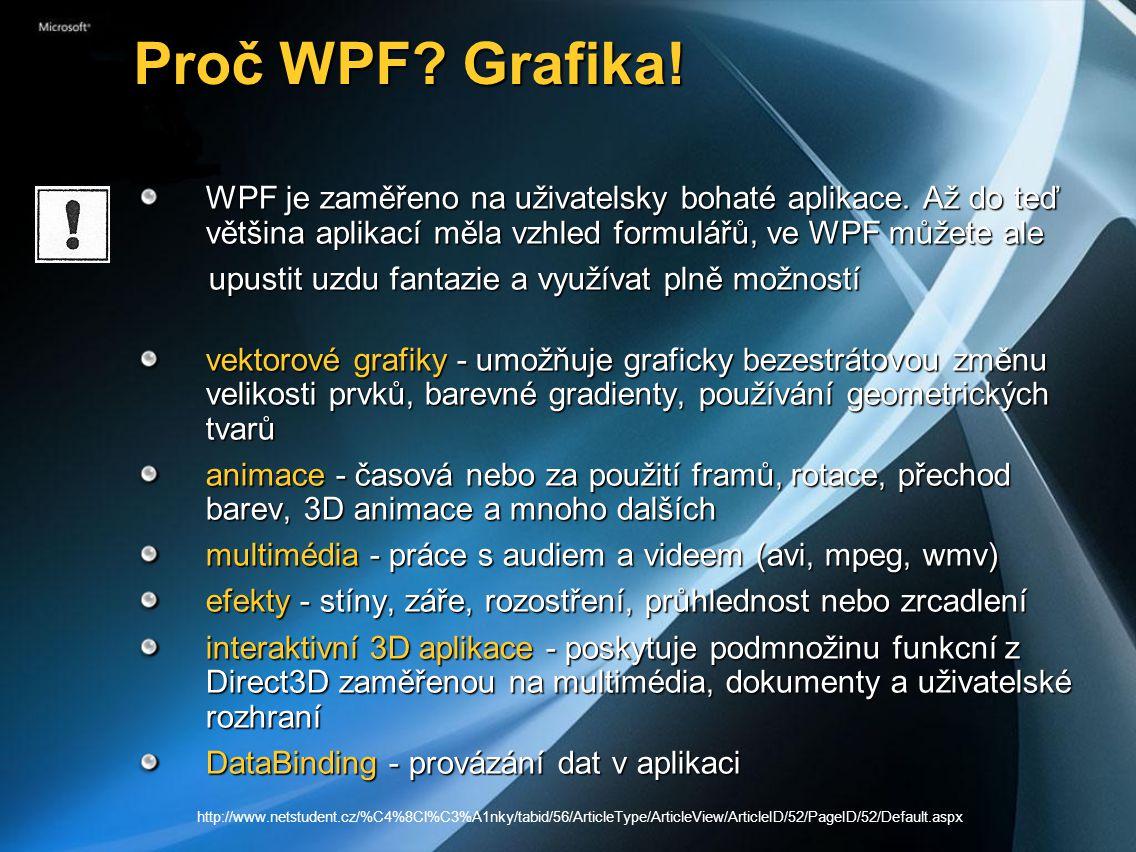 Proč WPF Grafika! WPF je zaměřeno na uživatelsky bohaté aplikace. Až do teď většina aplikací měla vzhled formulářů, ve WPF můžete ale.