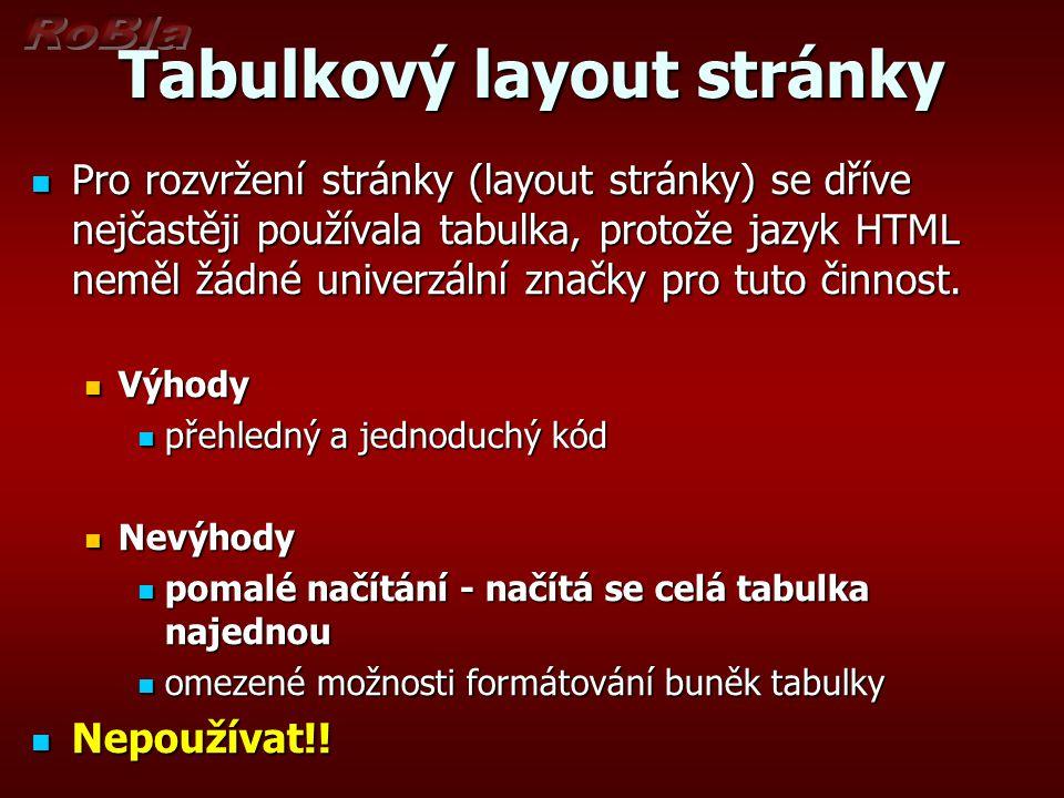 Tabulkový layout stránky