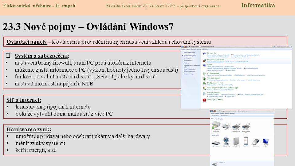 23.3 Nové pojmy – Ovládání Windows7