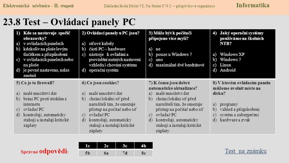 23.8 Test – Ovládací panely PC