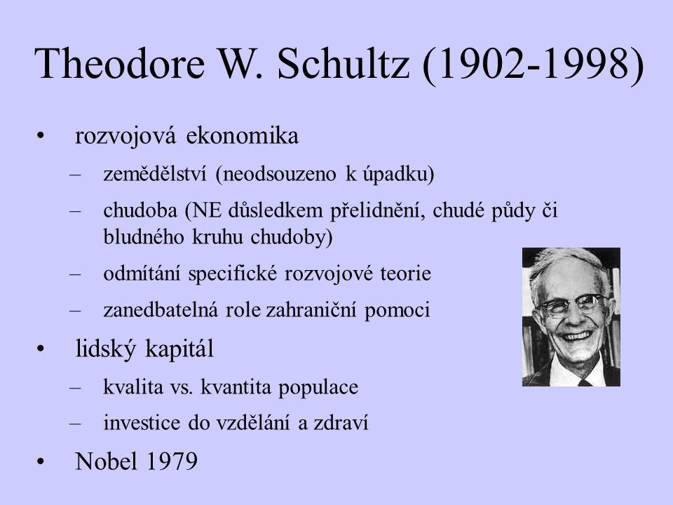 Theodore W. Schultz (1902-1998) rozvojová ekonomika lidský kapitál