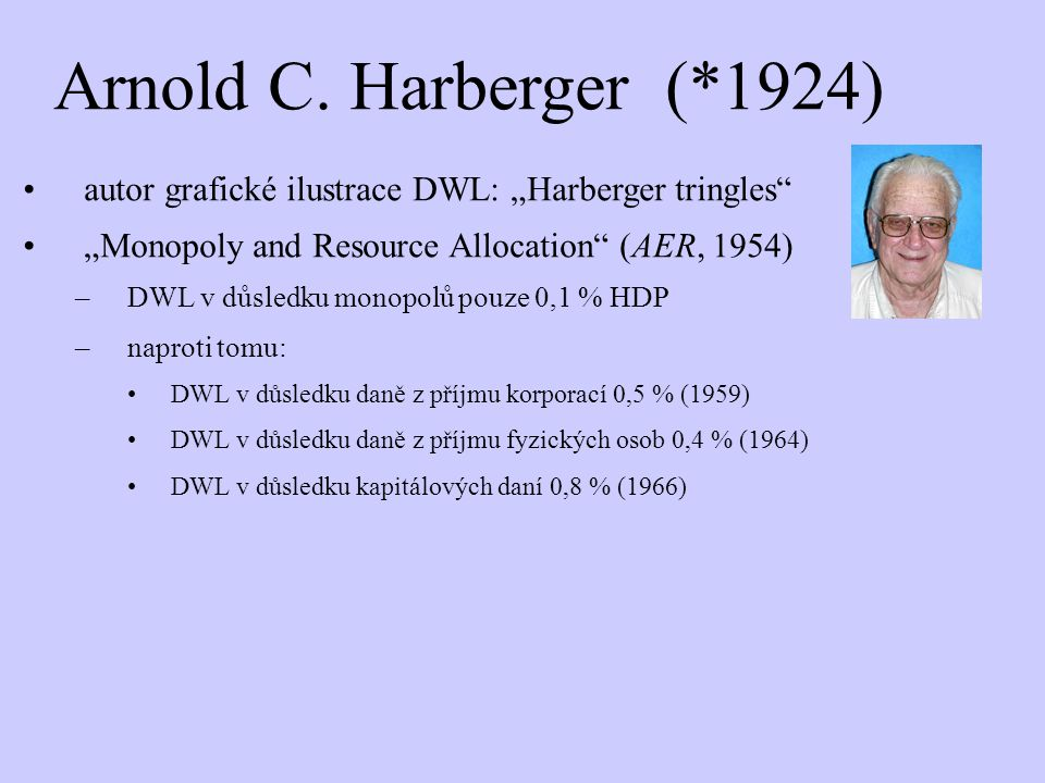 "Arnold C. Harberger (*1924) autor grafické ilustrace DWL: ""Harberger tringles ""Monopoly and Resource Allocation (AER, 1954)"