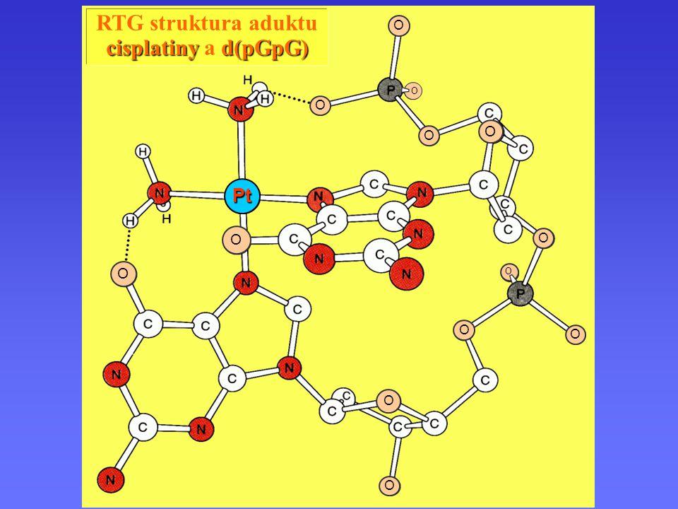 Pt O Komplexy platiny RTG struktura aduktu cisplatiny a d(pGpG)