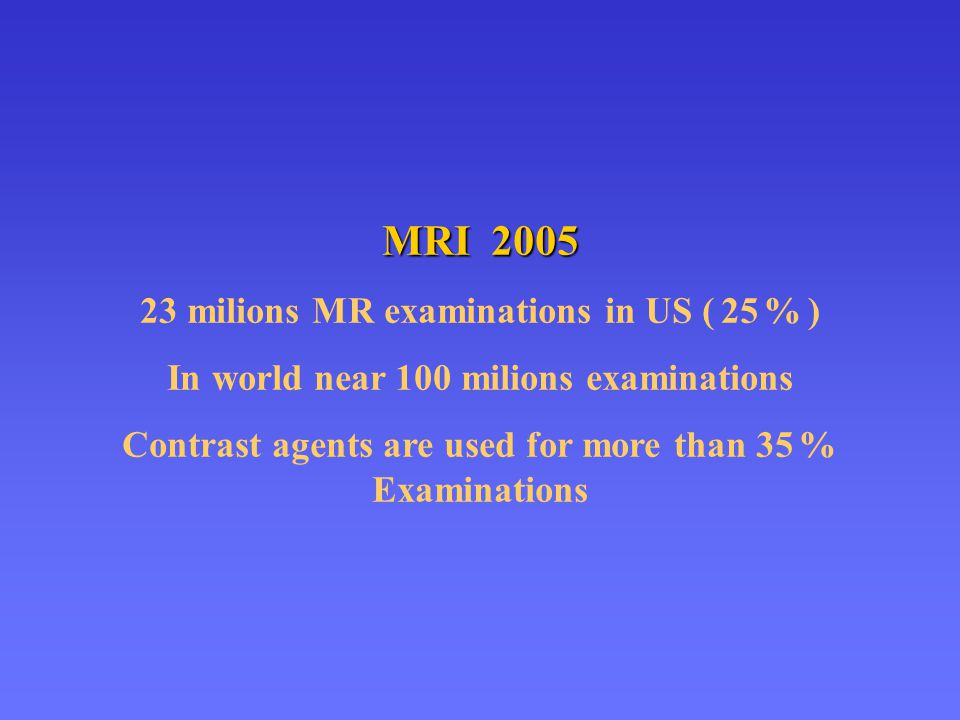 MRI 2005 23 milions MR examinations in US ( 25 % )