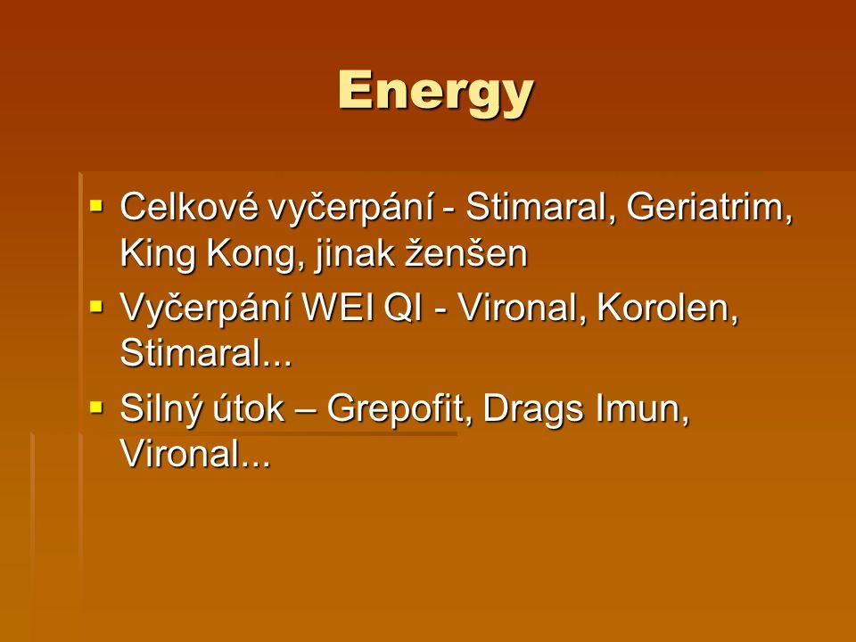 Energy Celkové vyčerpání - Stimaral, Geriatrim, King Kong, jinak ženšen. Vyčerpání WEI QI - Vironal, Korolen, Stimaral...