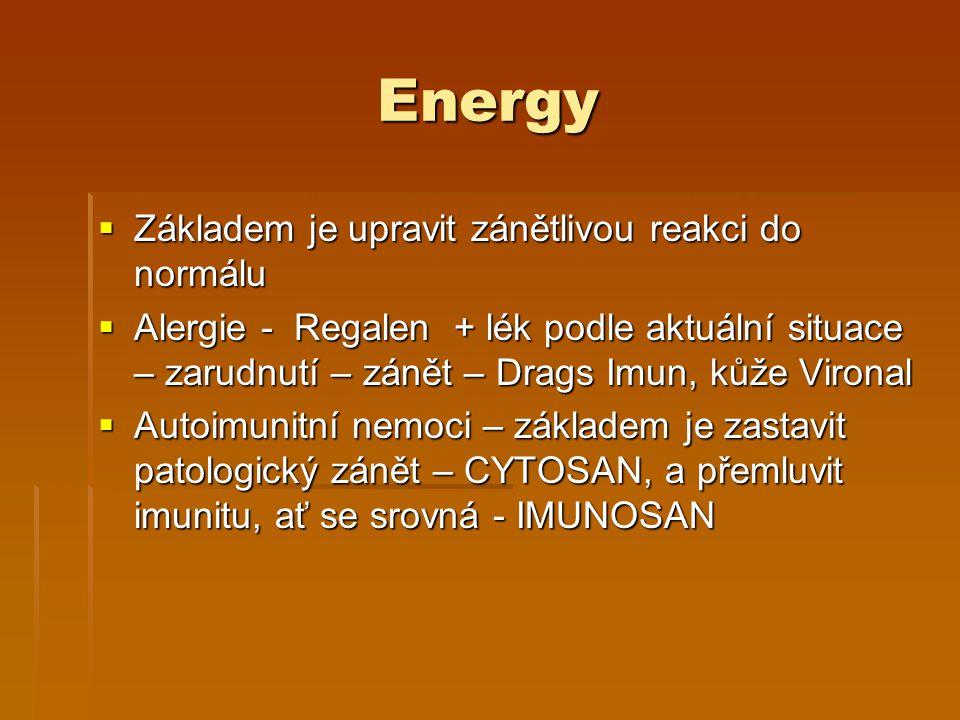 Energy Základem je upravit zánětlivou reakci do normálu
