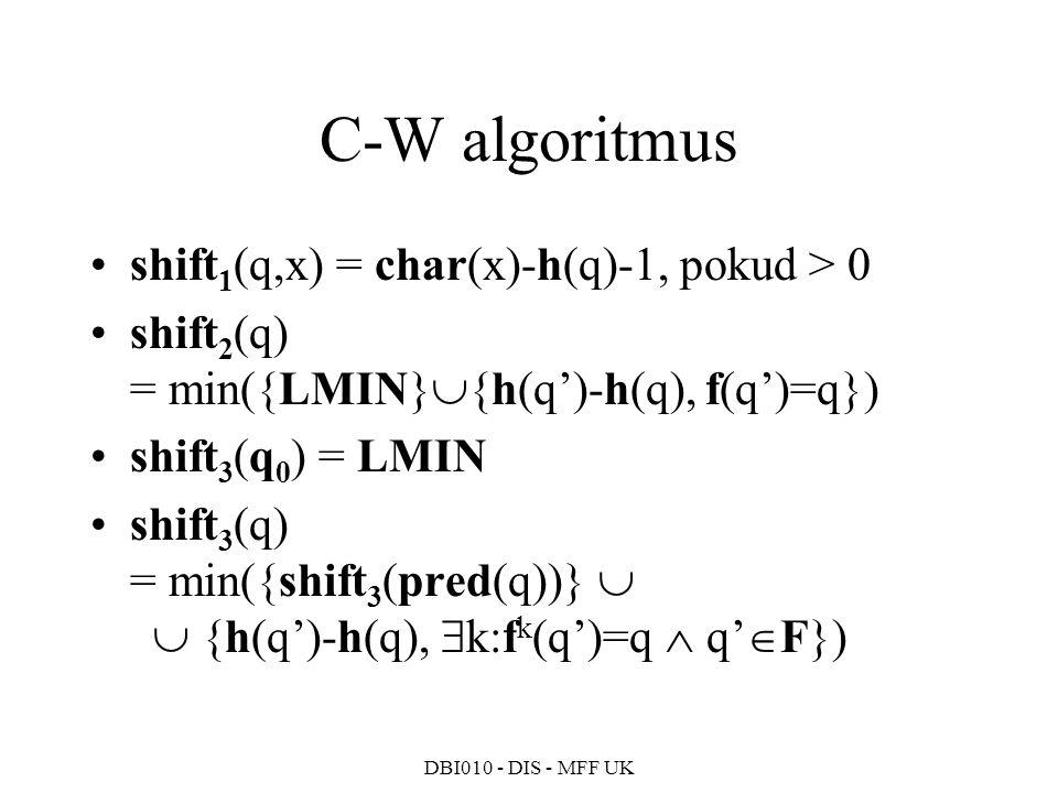 C-W algoritmus shift1(q,x) = char(x)-h(q)-1, pokud > 0