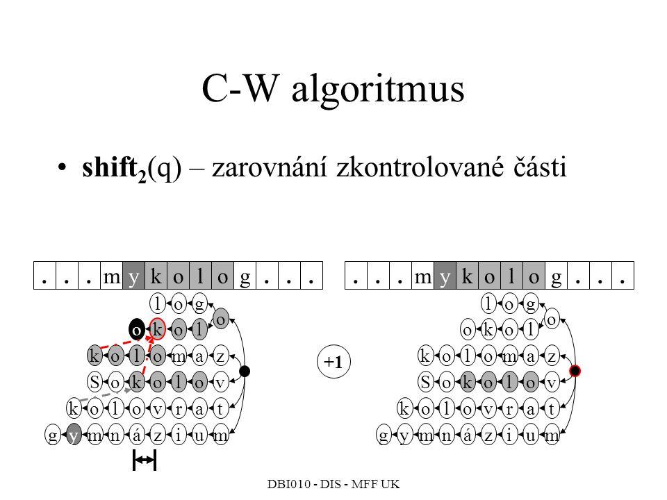 C-W algoritmus shift2(q) – zarovnání zkontrolované části m k y o l g .