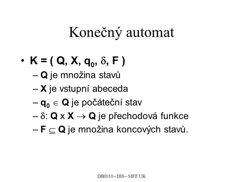 Konečný automat K = ( Q, X, q0, , F ) Q je množina stavů