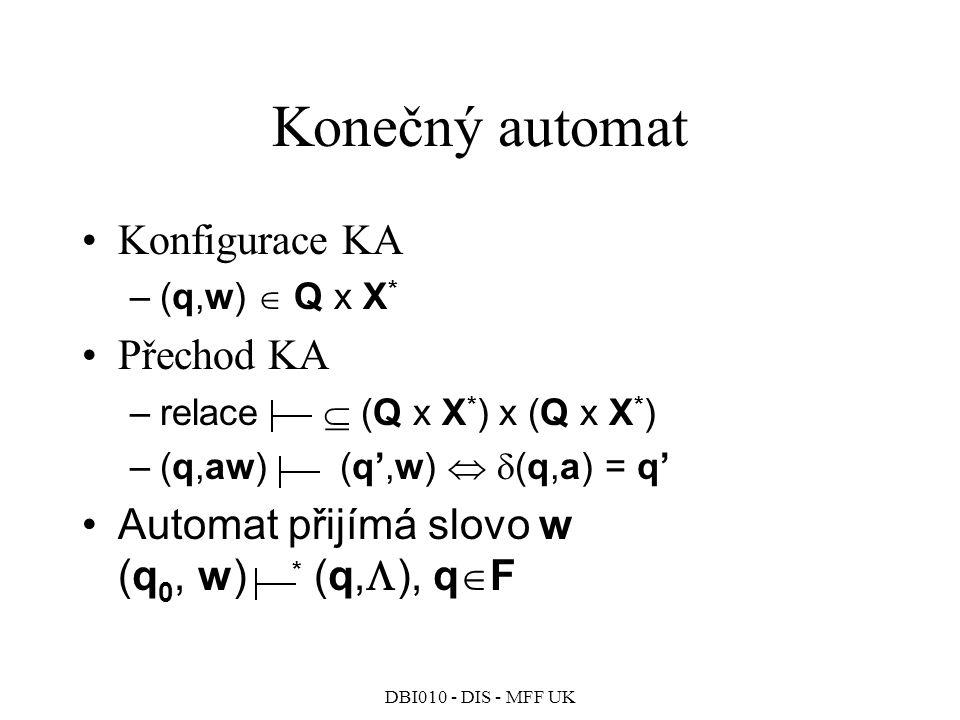 Konečný automat Konfigurace KA Přechod KA