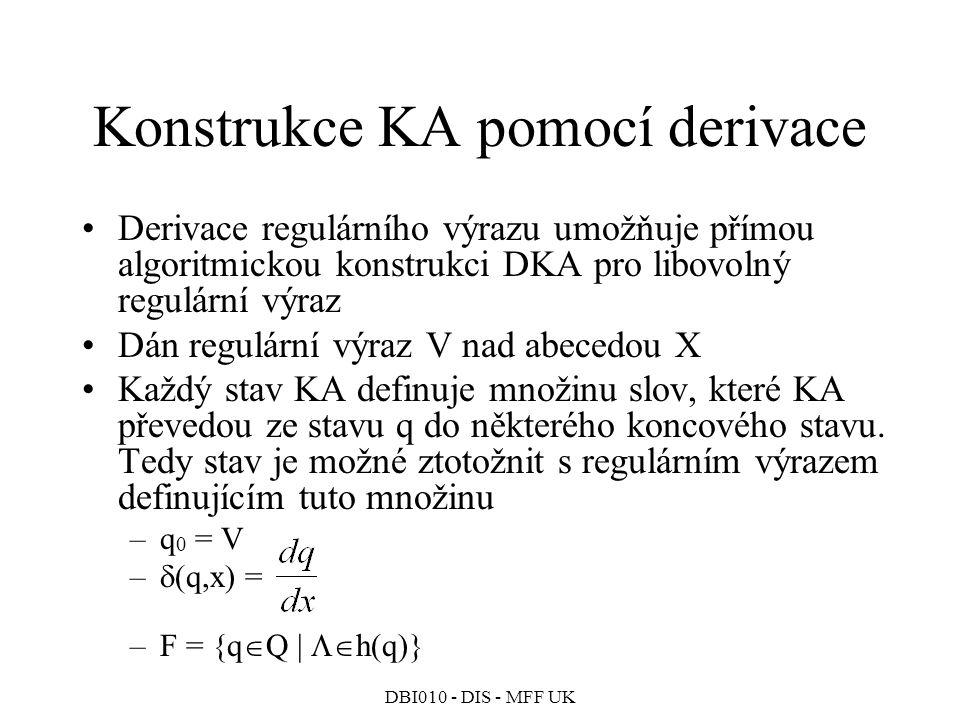 Konstrukce KA pomocí derivace