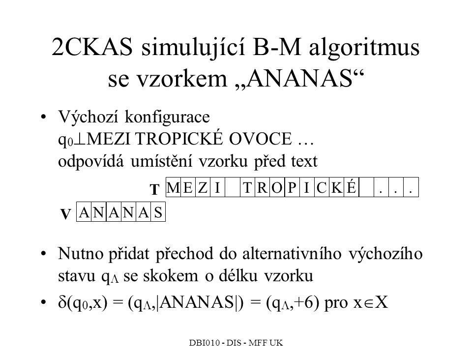 """2CKAS simulující B-M algoritmus se vzorkem """"ANANAS"""
