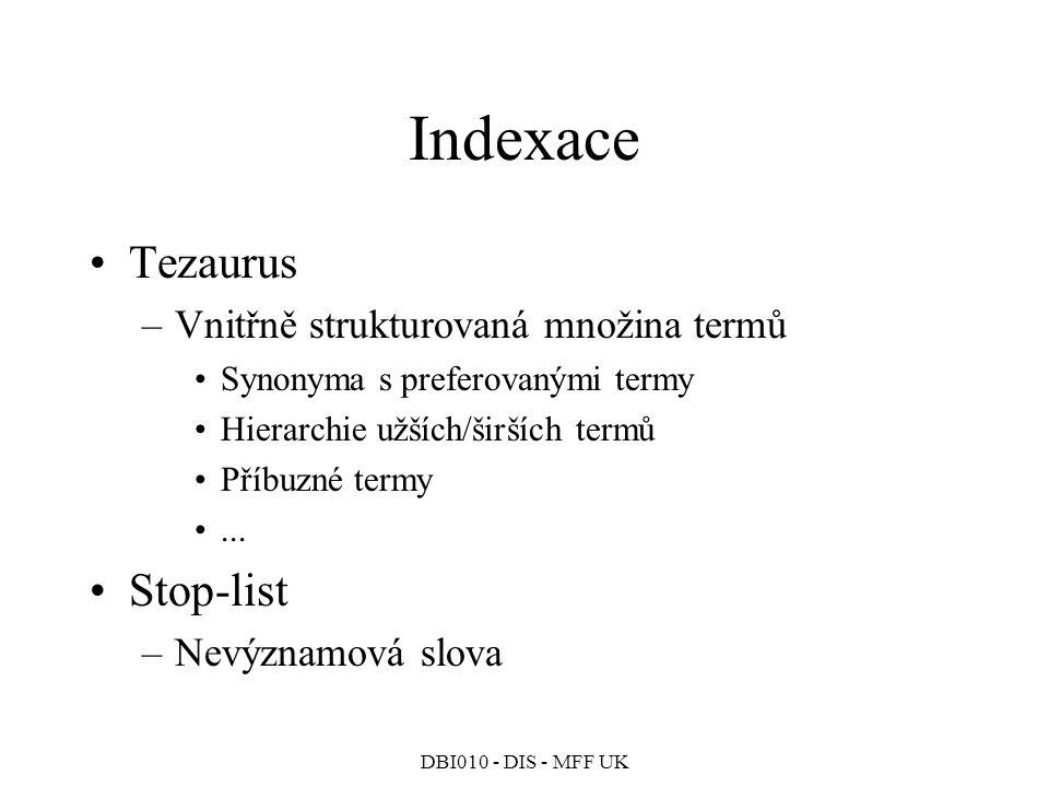 Indexace Tezaurus Stop-list Vnitřně strukturovaná množina termů