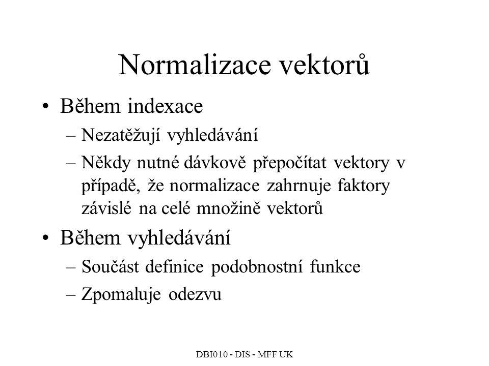 Normalizace vektorů Během indexace Během vyhledávání