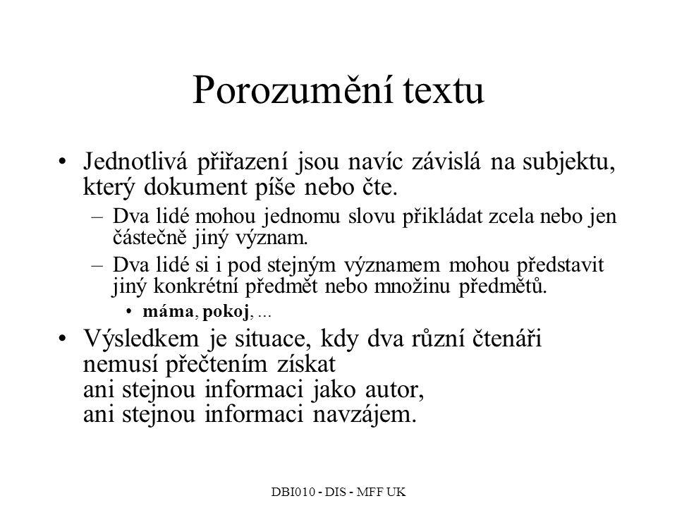 Porozumění textu Jednotlivá přiřazení jsou navíc závislá na subjektu, který dokument píše nebo čte.