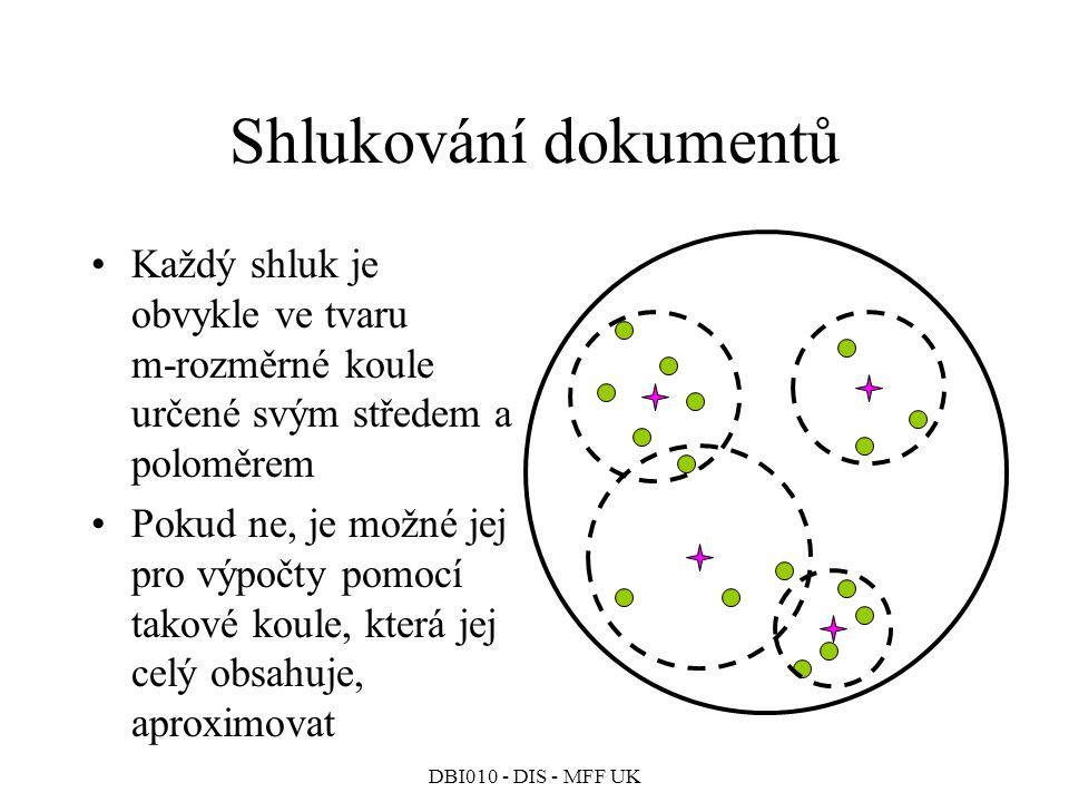 Shlukování dokumentů Každý shluk je obvykle ve tvaru m-rozměrné koule určené svým středem a poloměrem.