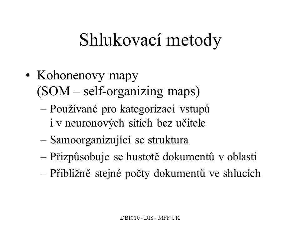 Shlukovací metody Kohonenovy mapy (SOM – self-organizing maps)