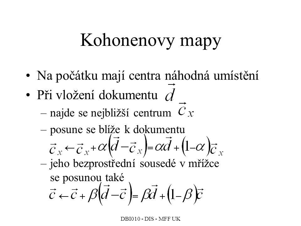 Kohonenovy mapy Na počátku mají centra náhodná umístění