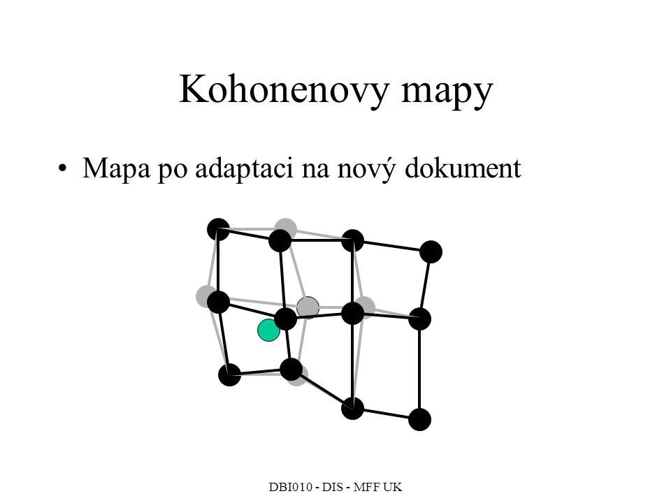 Kohonenovy mapy Mapa po adaptaci na nový dokument