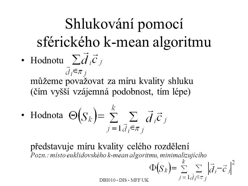 Shlukování pomocí sférického k-mean algoritmu