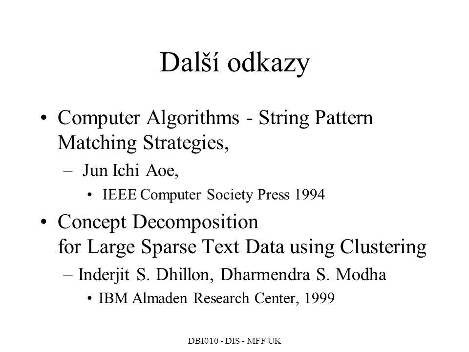 Další odkazy Computer Algorithms - String Pattern Matching Strategies,
