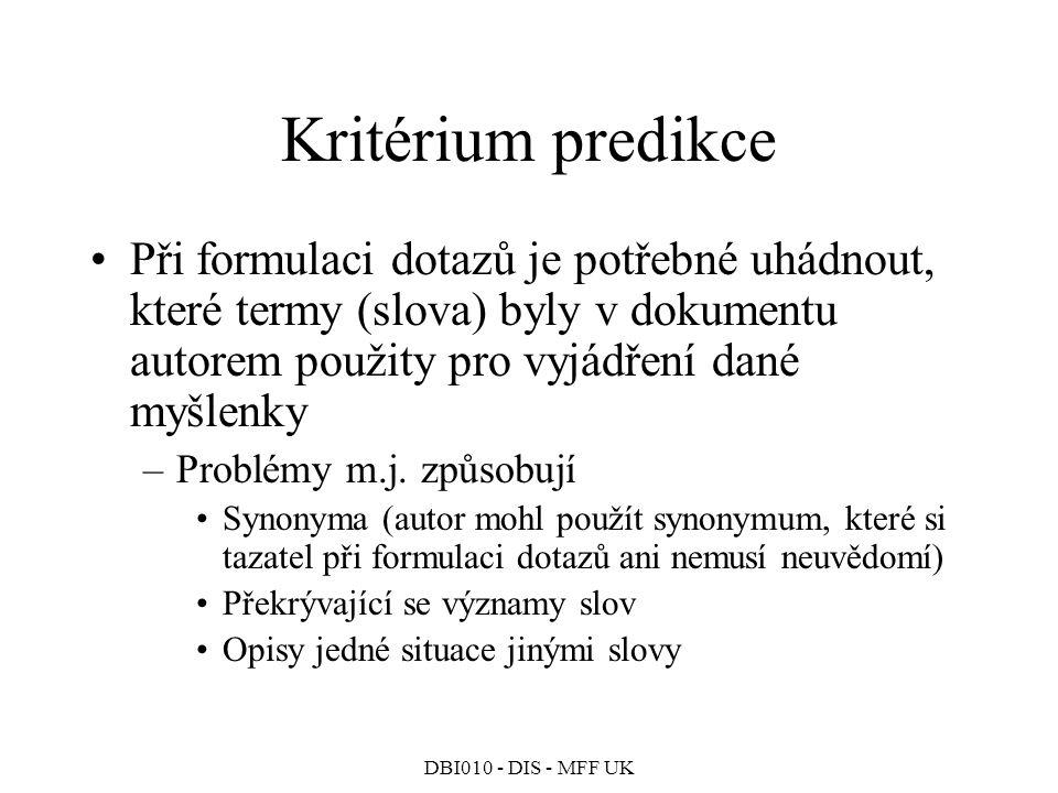 Kritérium predikce Při formulaci dotazů je potřebné uhádnout, které termy (slova) byly v dokumentu autorem použity pro vyjádření dané myšlenky.