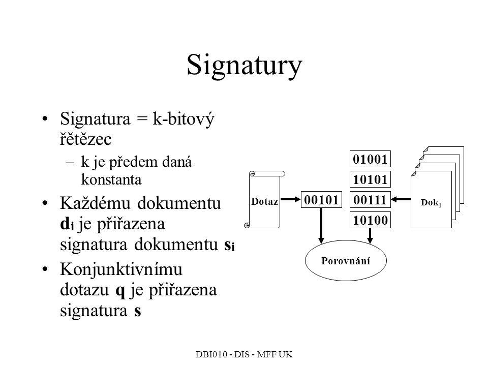 Signatury Signatura = k-bitový řětězec