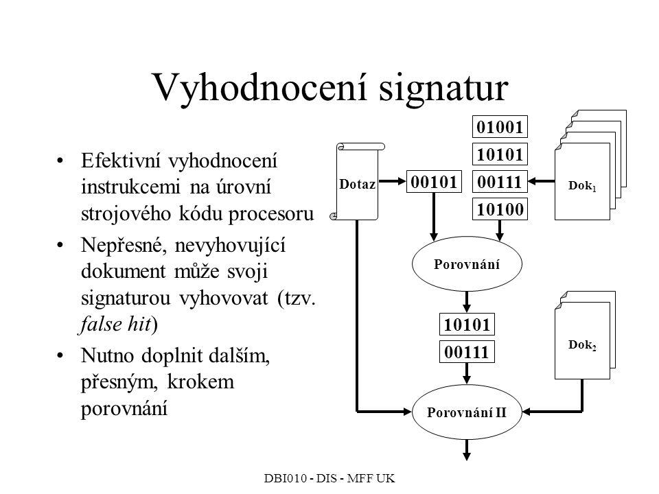 Vyhodnocení signatur Dok1. Porovnání. Dotaz. 00101. 01001. 10101. 00111. 10100. Dok2. Porovnání II.
