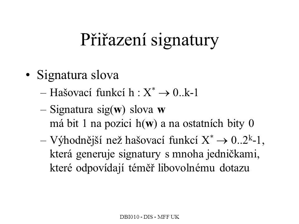 Přiřazení signatury Signatura slova Hašovací funkcí h : X*  0..k-1