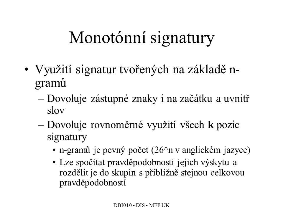 Monotónní signatury Využití signatur tvořených na základě n-gramů