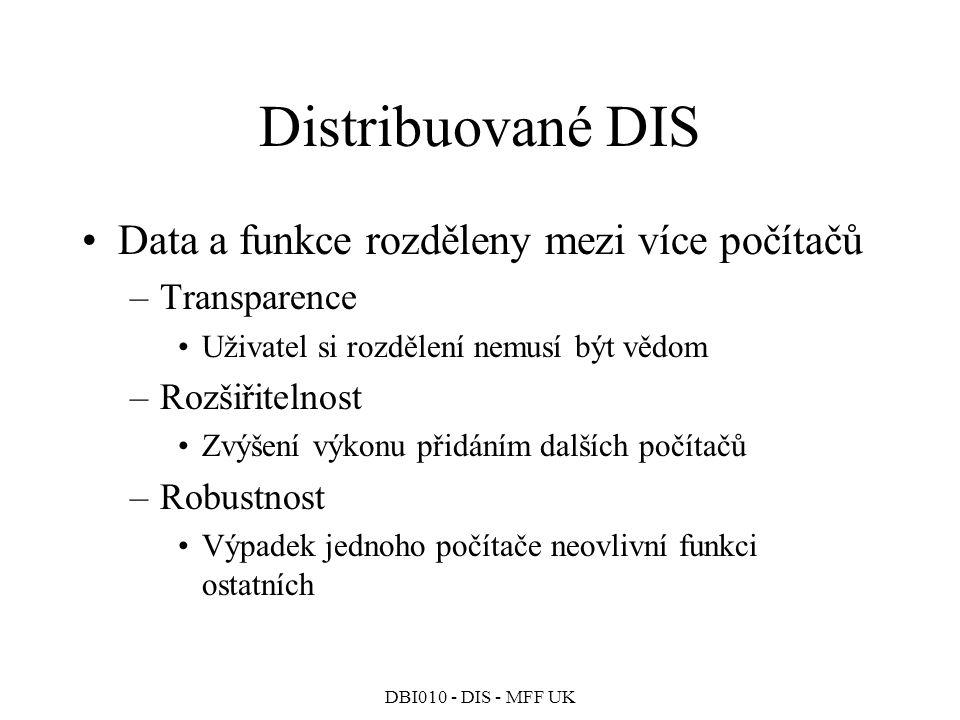 Distribuované DIS Data a funkce rozděleny mezi více počítačů