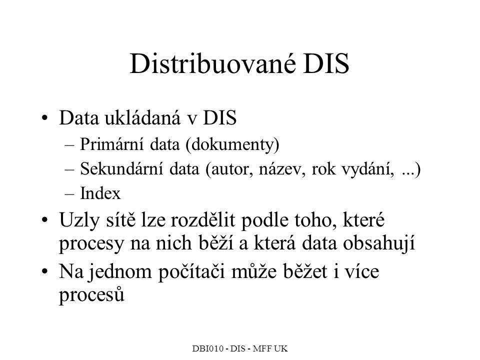 Distribuované DIS Data ukládaná v DIS