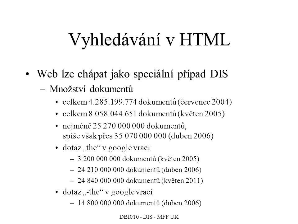 Vyhledávání v HTML Web lze chápat jako speciální případ DIS