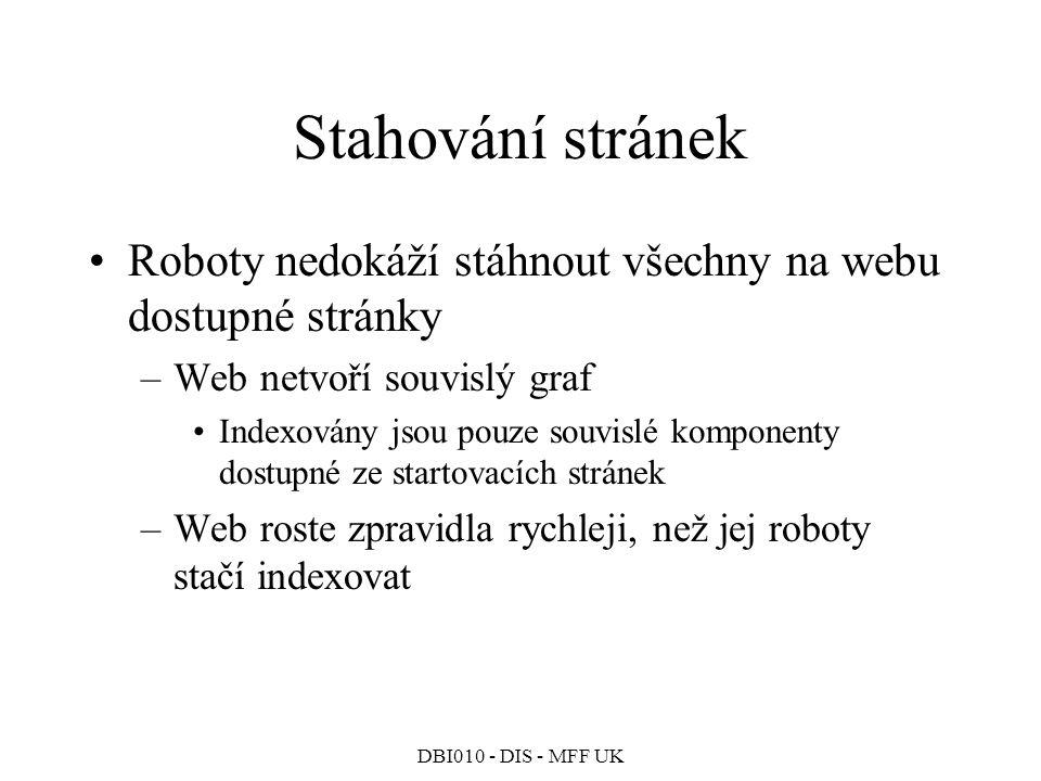 Stahování stránek Roboty nedokáží stáhnout všechny na webu dostupné stránky. Web netvoří souvislý graf.
