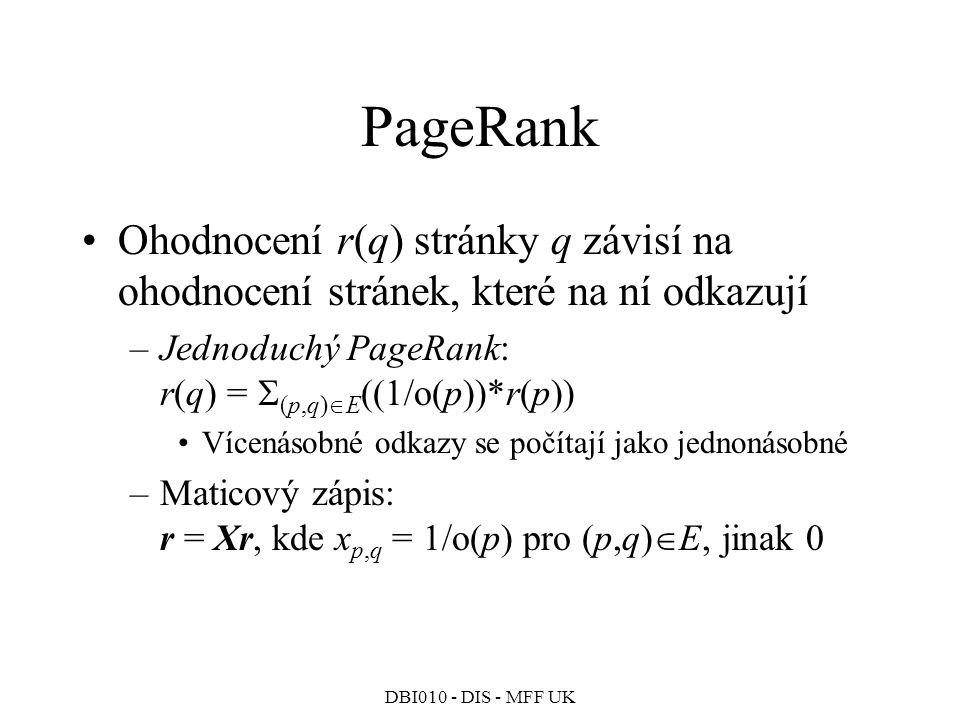 PageRank Ohodnocení r(q) stránky q závisí na ohodnocení stránek, které na ní odkazují. Jednoduchý PageRank: r(q) = (p,q)E((1/o(p))*r(p))