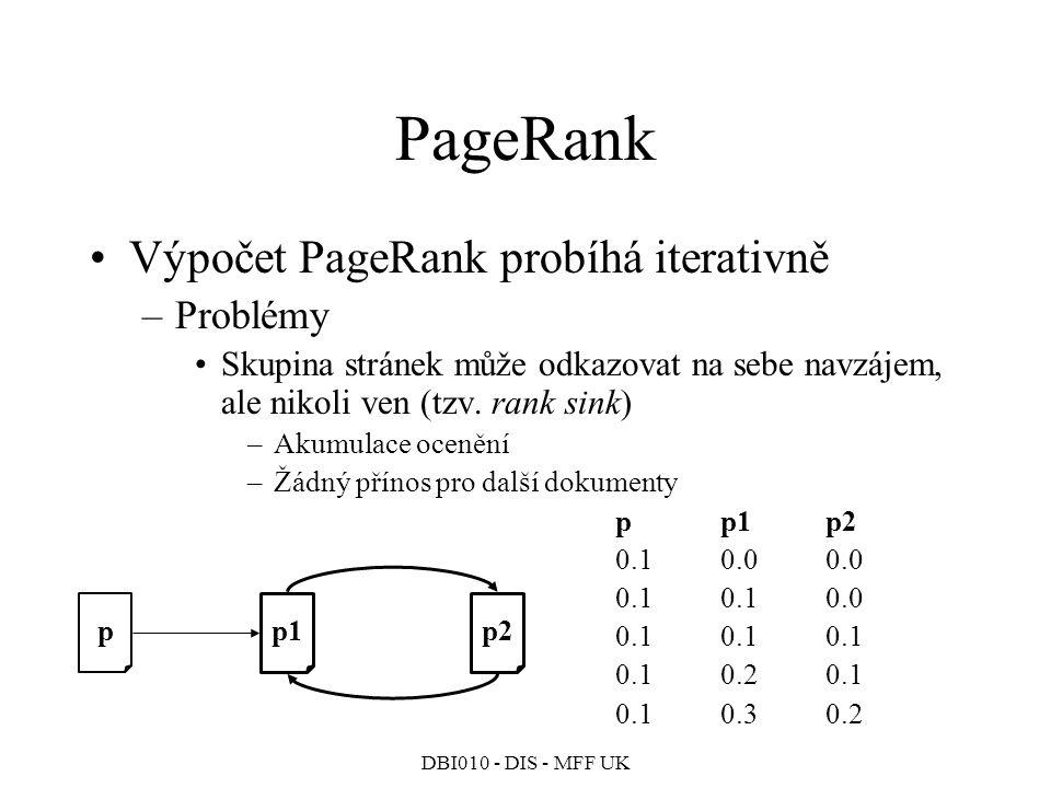 PageRank Výpočet PageRank probíhá iterativně Problémy