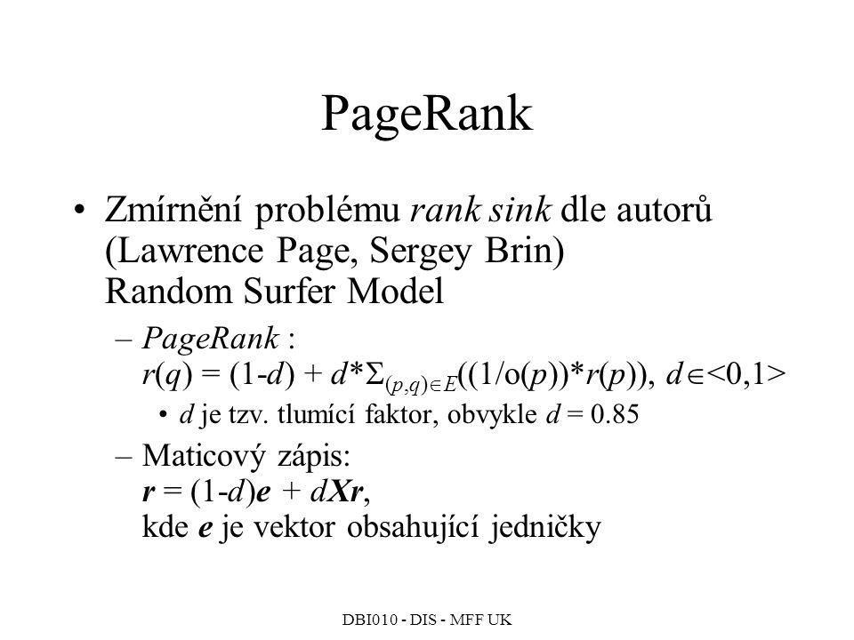 PageRank Zmírnění problému rank sink dle autorů (Lawrence Page, Sergey Brin) Random Surfer Model.