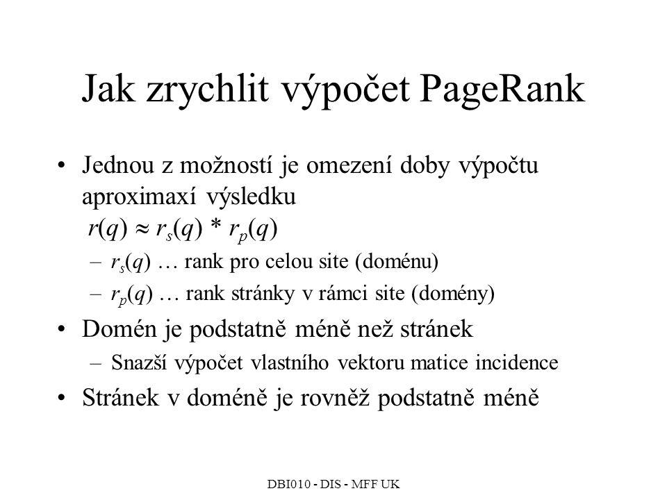 Jak zrychlit výpočet PageRank