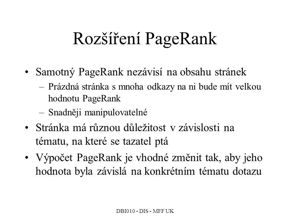Rozšíření PageRank Samotný PageRank nezávisí na obsahu stránek